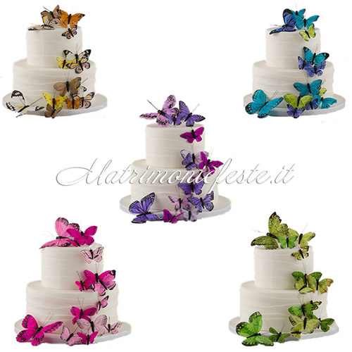 Cake topper farfalle decorative 24 pz cake topper - Farfalle decorative per pareti ...