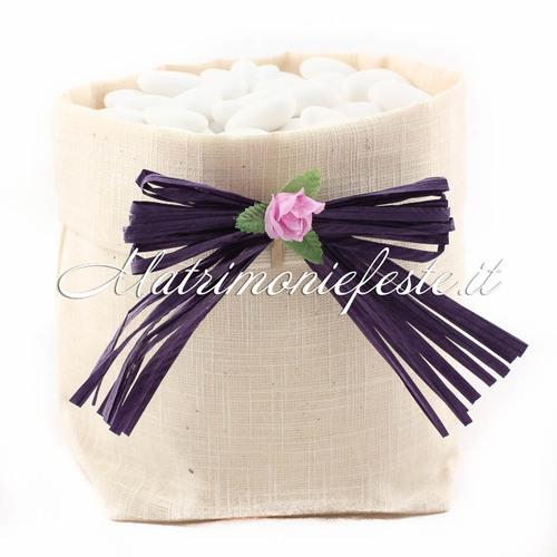 Confettata Matrimonio Rustico : Sacchetto per confettata rustico avorio articoli addobbi